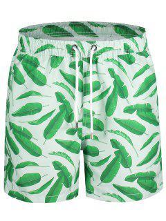 Drawstring Leaf Print Swim Board Shorts - Green Xl