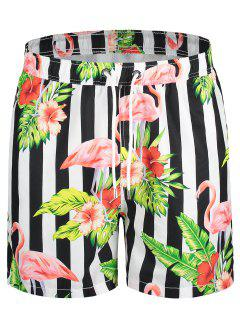 Drawstring Striped Floral Swim Trunks - L