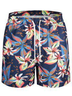 Drawstring Floral Swim Trunks - Floral L