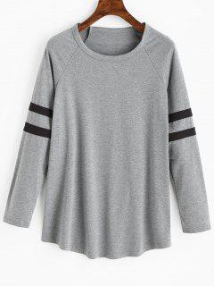 Camiseta Raglán Manga Larga Con Rayas - Gris Xl