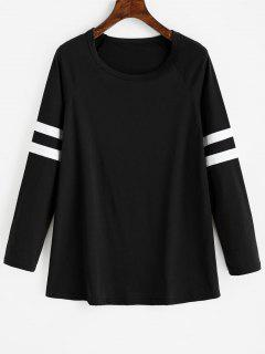 Raglan Sleeve Striped Longline Tee - Black L