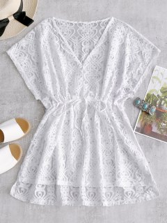 Drawstring Lace Cover-up Dress - White