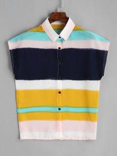 Cap Sleeve Color Block Chiffon Shirt - Multi Color S