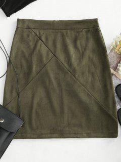 Back Zipper Faux Suede Skirt - Army Green S