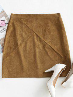 Back Zipper Faux Suede Skirt - Dark Khaki M