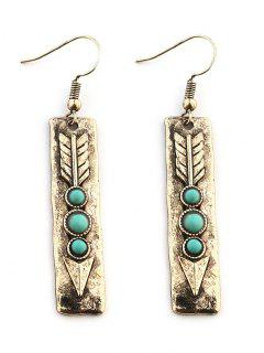 Arrow Shape With Stone Inlay Drop Earrings - Golden