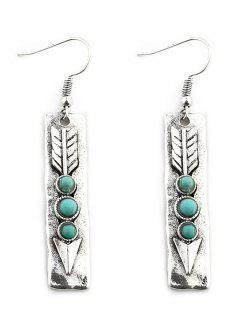 Arrow Shape With Stone Inlay Drop Earrings - Silver