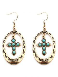 Vintage Geometric Hollow Out Cross Drop Earrings - Golden