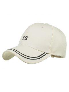 Unique US Embroidery Adjustable Baseball Cap - Beige