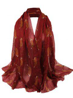 Jumping Fox Pattern Silky Long Scarf - Wine Red