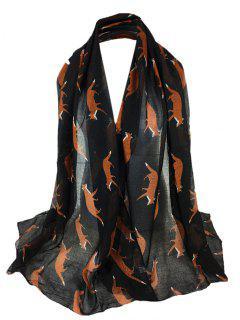 Jumping Fox Pattern Silky Long Scarf - Black