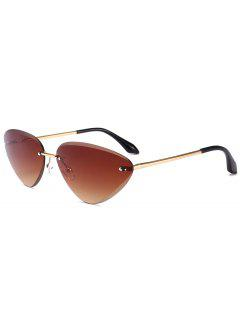 Anti Fatigue Cat Eye Frameless Sunglasses - Tea-colored