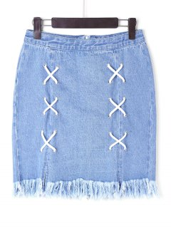 Lace Up Denim Frayed Skirt - Blue M