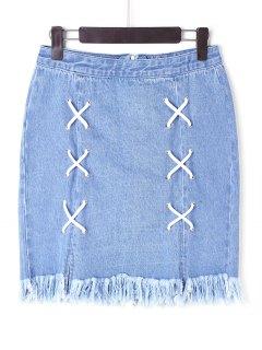 Lace Up Denim Frayed Skirt - Blue L