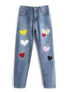 Heart Patched Zipper Fly Jeans - Blue M
