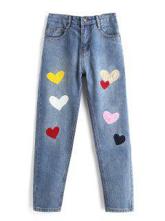 Herz Gepatcht Zipper Fly Jeans - Blau Xl