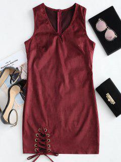 V Neck Sleeveless Lace Up Dress - Wine Red M
