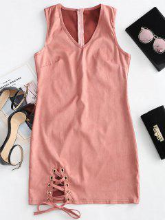 V Neck Sleeveless Lace Up Dress - Pink M
