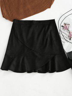 Ruffle Hem Faux Suede Skirt - Black S