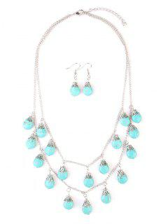 Faux Turquoise Teardrop Layered Necklace With Earrings - Silver
