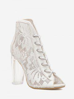 Chunky Heel Lace Peep Toe Boots - White 36