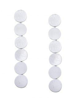 Round Disc Layered Earrings - Silver