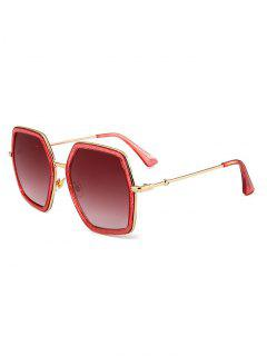 Unique Full Frame Embellished Oversized Sunglasses - Peach Red