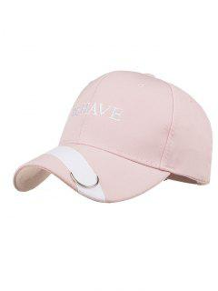 Metal Ring Letter Embroidery Adjustable Baseball Cap - Pink