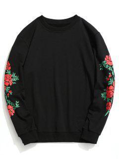 Crew Neck Floral Print Pullover Sweatshirt - Black L