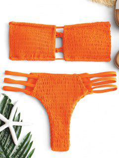 Schnürung Smocked Thong Bikini Set - Fluoreszierende Orange S