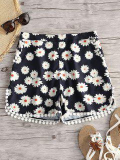 Floral Print Crochet Trim Shorts - Floral M