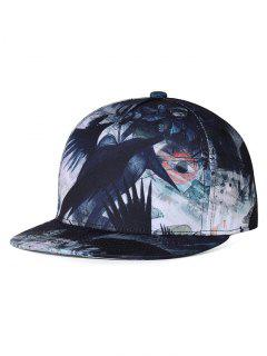 Unique Crow Pattern Flat Brim Baseball Cap - White And Black