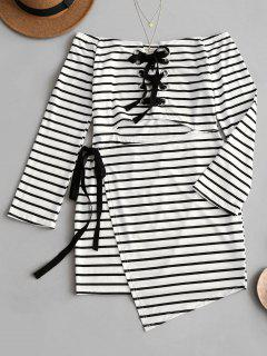Off Shoulder Lace Up Striped Dress - Black Stripe M