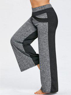 Pantalon Large à Jambe Large Avec Bloc De Couleur - Gris 5xl
