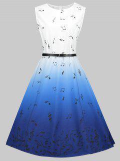 Robe Rétro Ombre Imprimée Note Musicale Grande Taille - Bleu 4xl