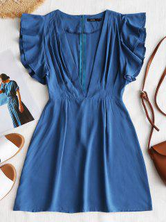 Plunge Back Zip Ruffle Mini Dress - Blue L