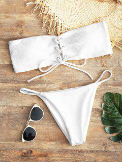 Bandeau Lace Up Bikini Top And Thong Bottoms - White M