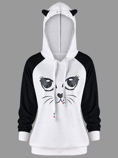 Cat Print Raglan Sleeve Hoodie - White And Black 2xl