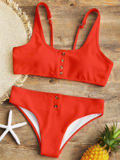 Padded Ribbed Texture Buttons Bikini Set - Red L