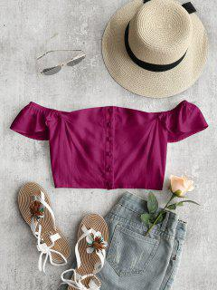 Off The Shoulder Crop Top - Purplish Red M