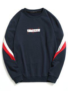 Crew Neck Color Block Pullover Sweatshirt - Purplish Blue L