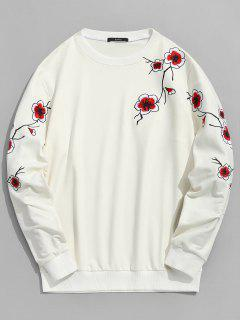 Plum Blossom Embroidered Sweatshirt - Crystal Cream M