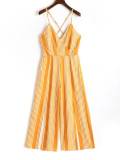 Slit Criss Cross Stripes Jumpsuit - Yellow Xl