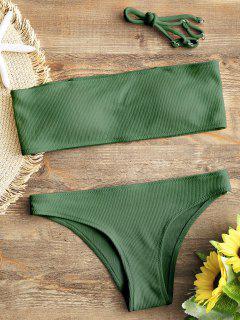 Ribbed Texture Bandeau Bikini Set - Green S