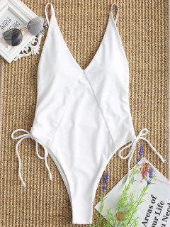 Cami High Cut Lace Up One Piece Swimwear - White S