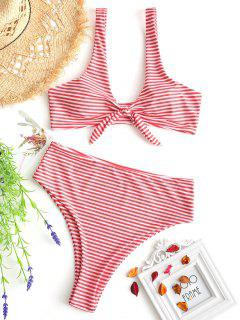 Knotted Striped High Cut Bikini Set - Red With White M