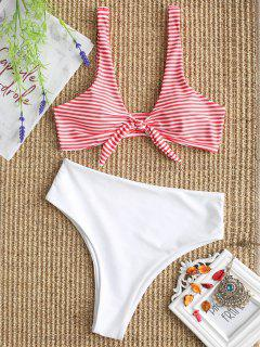 Knotted Striped Bikini Bra And High Cut Bottoms - White L