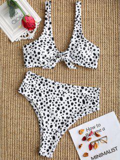 Speckled Knotted High Cut Bikini Set - White L