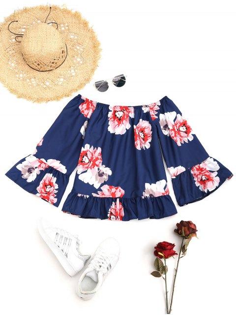 Blumen Rüschen Schulterfreie Bluse - Dunkel Blau S Mobile