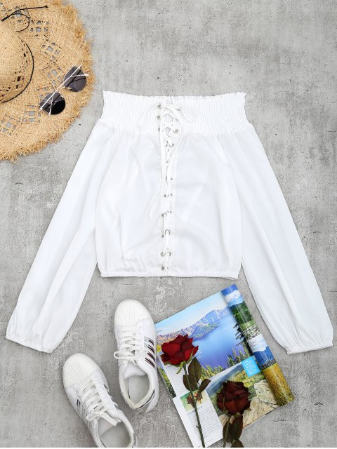 sale Lace-up Smocked Off The Shoulder Blouse - WHITE S Mobile